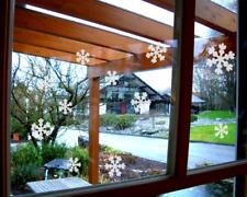 Eiskristall Schneeflocken Fenster Deko Set in Milchglas Optik Transparent / Matt