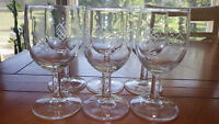Vintage Wine Glasses by Javit Crystal Company Pickett Pattern 6 6oz etched stems
