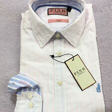 THOMAS PINK Shirt Size S White Blue Pink Striped Casual Button Cuff Cotton Shirt