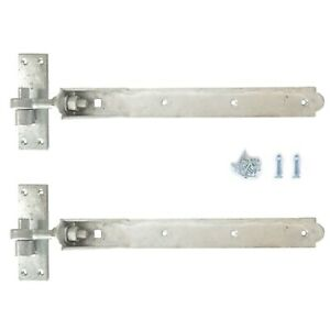"Adjustable Gate Hinges Pair 10"" or 12"" Galv Steel Heavy Duty Gates Hook And Band"