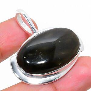 """Silversheen Obsidian Gemstone 925 Sterling Silver Jewelry Pendant 1.30"""" K689"""