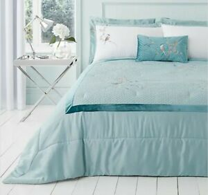 Evelyn blue bird embroidered bedspread 235x235cm FREE MATCHING BOUDOIR