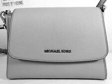 Michael Kors Sofia Saffiano Leather Small Satchel Crossbody Bag in Pearl Grey