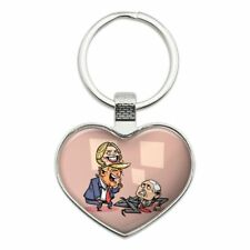 Donald Trump Hillary Clinton Mask Scaring Mike Pence Heart Love Metal Keychain