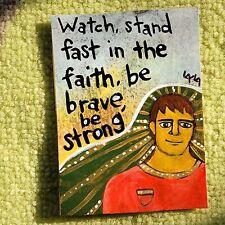 ORIGINAL ACEO Folk Art Christian Bible Scripture Man Faith Brave Strong Boy