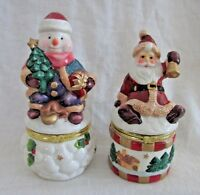 TRINKET BOXES, Santa with Bell & Snowman with Presents, Set of 2 Christmas