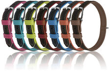 Dual-Color Soft Flat Genuine Leather Collars 4 sizes 4 Colors