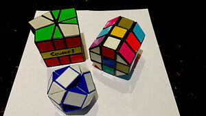 Rubik's Cubes x 3-Square 1-Cylinder and Round-All 1980s-All Original-See Photos.