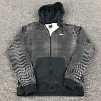 Nike Men's L Full Zip Anorak Jacket Hoodie Geometric Pattern Embroidered Swoosh