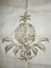 Curious heavy linen, partly drawn and embroidered pomegranate/pineapple