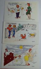 Lot Of 3 1950'S Comic Postcards By Noble A Genuine Kromekolor Comic Card