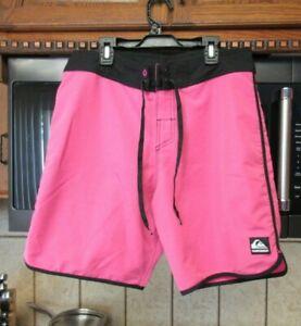 Quiksilver board shorts Men's 32 waist retro 1980's style Pink & Black OOP Rare