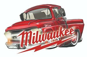 MILWAUKEE TOOLS STICKER DECAL 57 HOT TRUCK MECHANIC GLOSSY LABEL TOOL BOX USA