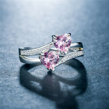 Fashion 925 Silver Wedding Couple Ring Heart To Heart Pink Sapphire Size 10