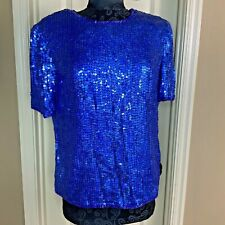 Camille Marie Womens Top Silk Sequin Beads Party Blue Size L #El4