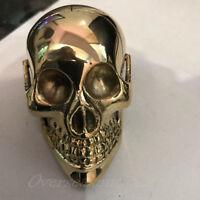 Brass Skull Solid Head Handle Designer For Walking Stick Canes Shaft VINTAGE