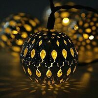 Solar String Lights Outdoor 20 LEDs Moroccan Gold Metal Ball Garden Fairy Lamp