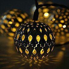 Solar String Lights Outdoor 20 LEDs Moroccan Gold Metal Ball Garden Fairy Lamp