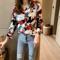 Women Floral Blouse Button V Neck Shirts Long Sleeve Tops Loose Shirt CasualSK