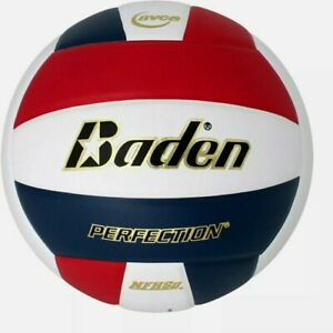 Baden Perfection Colored NFHS Leather Volleyball 210 Red White Navy OS VX5EC New