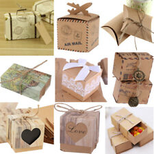 50pcs Vintage Kraft Paper Sweets Candy Boxes Wedding Favor Gift Box