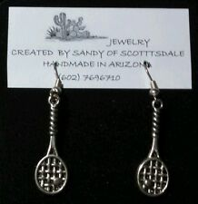 FOR TENNIS LOVERS - silver-plated tennis racquet earrings by Sandy of Scottsdale