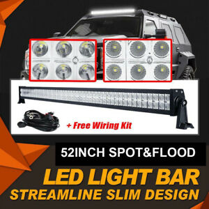 """Curved 52inch LED Light Bar SPOT FLOOD COMBO Beam Work Driving Roof 4WD SUV 50"""""""