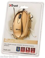 NEW TRUST REFLEX GOLDEN GOLD COLOUR OPTICAL USB MINI MOUSE APPROX 90MM  X 50MM