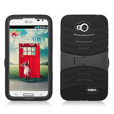 LG Optimus L70 Hard Gel Rubber KICKSTAND Case Phone Cover Accessory