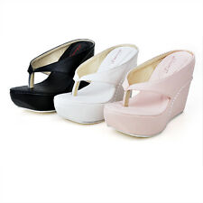 Synthetic Leather Flip Flops Shoes Wedge High Heel Slippers Sandals AU Size S391
