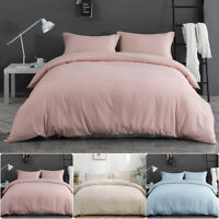 3PCS Quilt Cover Duvet Cover Set 2'' Drop Pillowcase Pink Beige Light Blue Queen