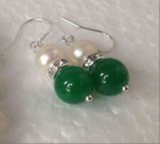 New 7-8mm White Pearl 10mm Green Jade Silver Earrings