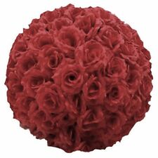 "10"" Silk Rose Flower Kissing Ball Wedding Party Home Decoration Burgundy"