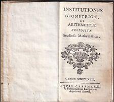 Anonimo - Institutiones Geometricae et Arithmeticae - Casamara 1768  Genova