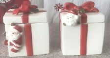 Vintage Fitz & Floyd Santa Claus Lidded Boxes Set of Two in Box