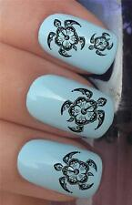 WATER NAIL TRANSFERS SEA TURTLE HIBISCUS FLOWER TRIBAL DECALS STICKERS *332