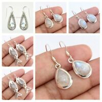 Rainbow Moonstone Teardrop 925 Sterling Silver Earrings Jewelry Mothers Day Gift