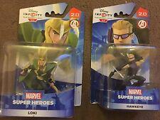 2 x Disney Infinity 2.0 Marvel Avengers Figure Occhio di Falco & Loki Inc 'CODICI NUOVO CON SCATOLA