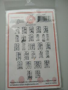 Fontwerks Rubber Stamps Uncut Unmounted recon outline lowercase 1 x 3/4 in