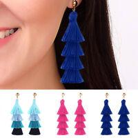 Women Boho Long Tassel Earrings Dangle Fringe Drop Elegant Jewelry Fashion Gift