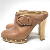 Coach Elaine Leather Studded Clogs Size 9 Caramel Brown Buckle