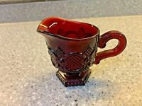 """Vintage AVON Cape Cod 1876 RUBY RED 3-7/8"""" Tall Creamer Dish with Handle"""