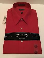Men's Arrow Fitted Long-sleeve Button-down Pin-Stripped Shirt Size 16 1/2 36/37