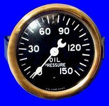 NEW NOS VINTAGE STEWART WARNER 2-5/8 OIL PRESSURE 150 GAUG,CURVED GLASS,CRESCENT