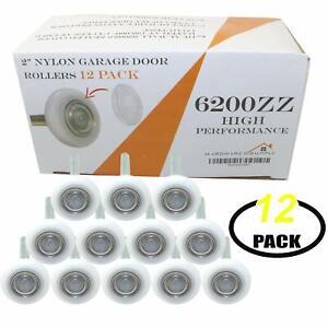 """Garage Door 2"""" Nylon Roller 4"""" Stem Sealed 6200ZZ 8 Ball Bearing - Set of 12"""