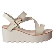 Womens Girls Cleated Sole Summer Casual Beach Low Wedge Sandals Black White Size