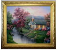 Framed, Streamside Chapel Repro, Hand Painted Oil Painting 20x24in