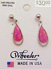 Wheeler Earrings Pink Opal Man Made Stone Fashion Jewlery POW 737 NEW