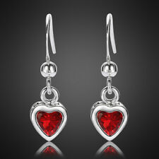 Plated Gp Earring Dangle Stick Earing Xmas Jewellery Heart Ruby 18K White Gold