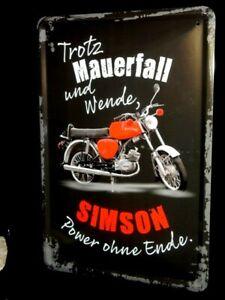 Blechschild Simson Moped S50 B  Enduro Motorrad DDR Wende  Suhl 20 x30